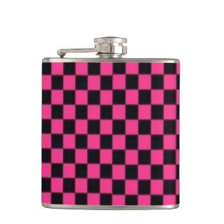 De roze Vinyl Verpakte Fles van het Schaakbord Heupfles
