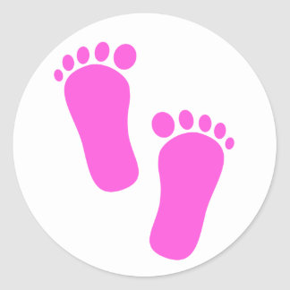 De roze Voetafdrukken van het Baby Ronde Sticker