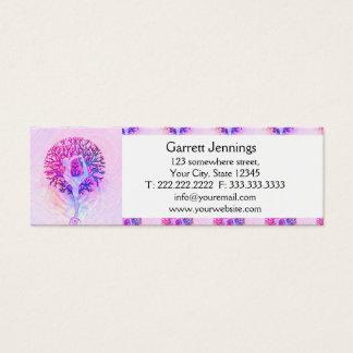 De roze Vrouw van de Boom van de Yoga in Mini Visitekaartjes