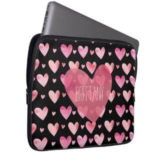 De roze Waterverf Gevormde Valentijnskaarten van Laptop Sleeve Hoezen