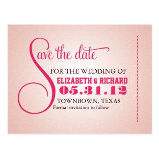 de roze wijnoogst bewaart de datum zoete briefkaar wens kaart