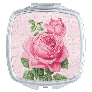 De roze wijnoogst nam girly toe spiegel make-up spiegeltje