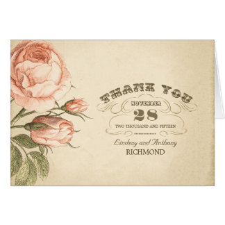 de roze wijnoogst nam huwelijk dankt u kaarten toe