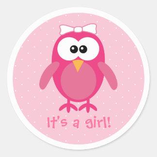De roze Zijn Uil van de Cartoon een Nieuw Baby van Ronde Stickers