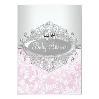 De roze & Zilveren Uitnodiging van het Baby shower