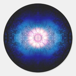 De roze Zon Mandala van de Winter Ronde Sticker