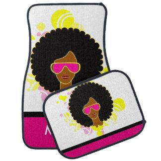 De Roze Zonnebril van het Haar van Afro op Auto Vloermat