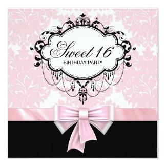 De roze Zwarte Partij van Verjaardag 16 van het 13,3x13,3 Vierkante Uitnodiging Kaart