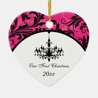 De roze Zwarte Witte Kroonluchter scrolt 1st Keramisch Hart Ornament