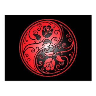 De Rozen, het rood en de zwarte van Yang van Yin Briefkaart