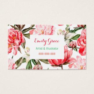 De rozerode Waterverf van Pioenen bloeit Bloemen Visitekaartjes