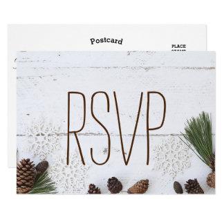 De rsvp-winter Pinecone en het Huwelijk van 8,9x12,7 Uitnodiging Kaart