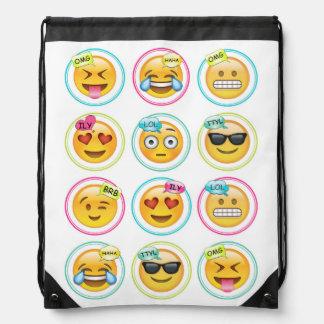De Rugzak van de Zak van Emoji Drawstring van de
