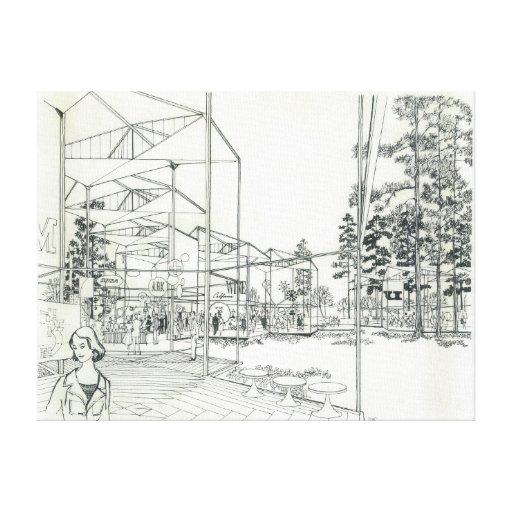 De ruimte tekening van het concept van de naald gallerij wrapped canvas zazzle - Ruimte van het meisje parket ...