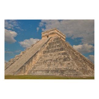 De Ruïnes van Itza van Chichen in Mexico Hout Afdruk