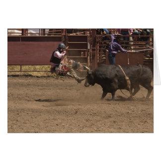 De ruiter van de stier krijgt airlifted wenskaart