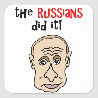 De Russen deden het Cartoon Putin Vierkante Sticker