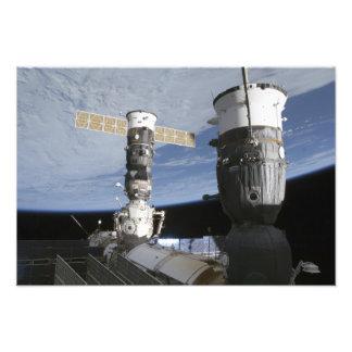 De Russische ruimtevaartuigen van Soyuz en van de Foto Afdruk