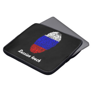 De Russische vlag van de aanrakingsvingerafdruk Laptop Sleeves