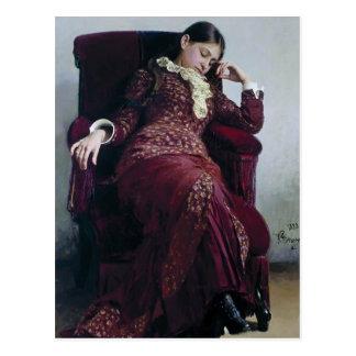De Rust van Repin- van Ilya. Portret van Vera Briefkaart