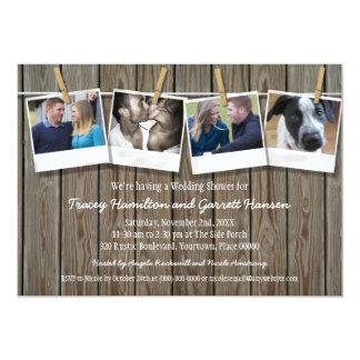 De rustieke Douche van het Huwelijk van de Foto 12,7x17,8 Uitnodiging Kaart