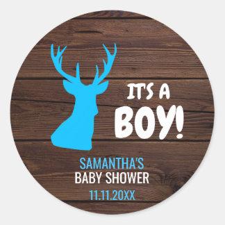 De rustieke Envelop van het Baby shower van het Ronde Sticker