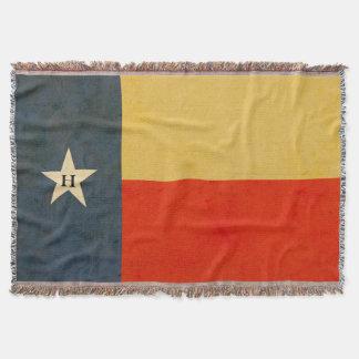 De rustieke Gepersonaliseerde Vlag van Texas werpt Deken