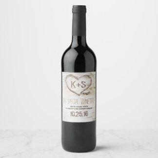 De rustieke Gravure van het Hart van de Wijnetiket