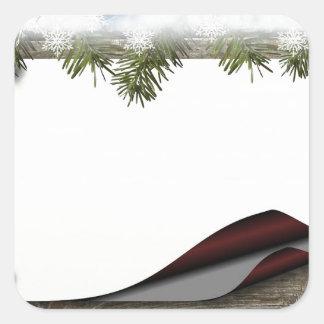 De rustieke Houten Druk van Kerstmis of van de Vierkante Sticker