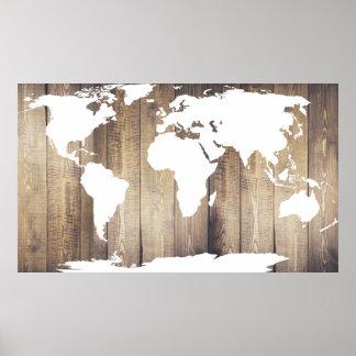 De rustieke Houten Kaart van de Wereld van Planken Poster
