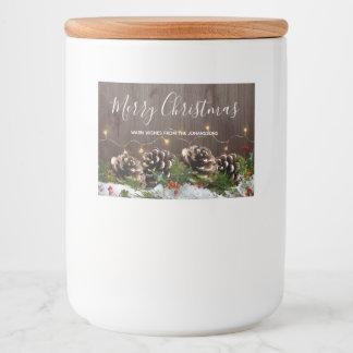 De rustieke Houten Lichten van de Pijnbomen van Voedselcontainer Etiket