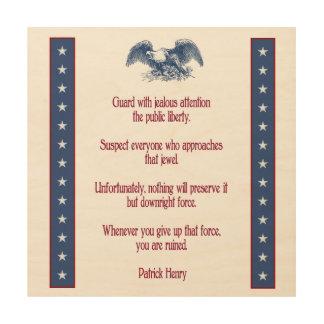 de rustieke houten plaque Patrick Henry van de Hout Afdruk