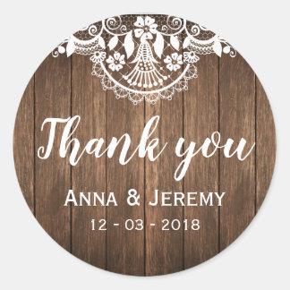 De rustieke Houten Sticker van het Huwelijk van