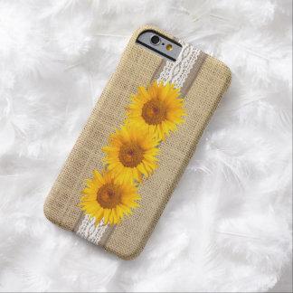 De rustieke Jute & de Zonnebloemen van het Land Barely There iPhone 6 Hoesje