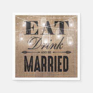 De rustieke Jute eet Drank en is Gehuwd Huwelijk Wegwerp Servetten