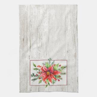 De rustieke Poinsettia van de Waterverf op Handdoeken