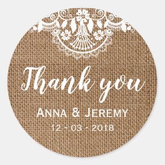 De rustieke Sticker van het Huwelijk van het Kant