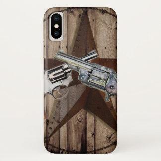 de rustieke Texas pistolen western land van de iPhone X Hoesje