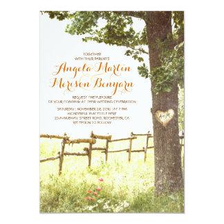de rustieke uitnodiging van het de boomhuwelijk