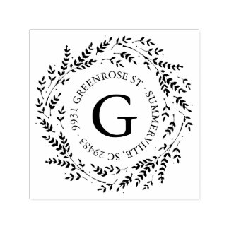De rustieke Zegel van het Adres van het Monogram Zelfinktende Stempel