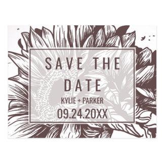De rustieke Zonnebloem bewaart de Datum Briefkaart