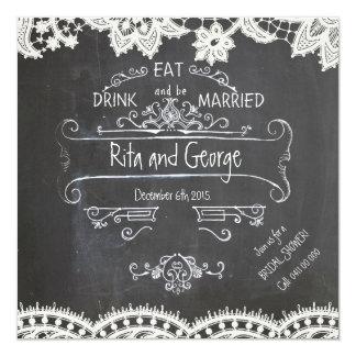 De rustieke Zwarte Uitnodiging van het Huwelijk