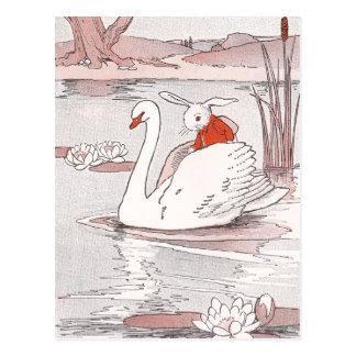 De rustige Zwaan geeft Konijn een Lift Briefkaart