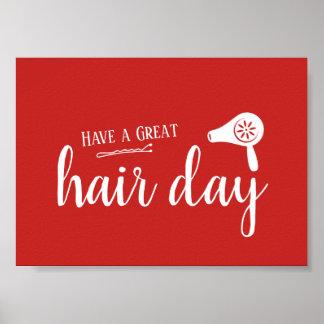 De Salon van het haar heeft een Groot Elegant Rood Poster