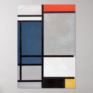 De Samenstelling van Mondrian met Rood, Blauw, Poster