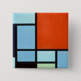 De Samenstelling van Piet Mondrian Vierkante Button 5,1 Cm