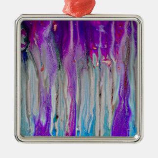 De Samenvatting van de waterval Zilverkleurig Vierkant Ornament