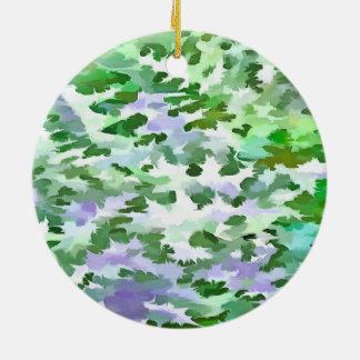 De Samenvatting van het gebladerte in Groen en Rond Keramisch Ornament