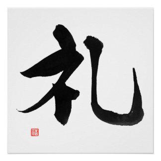 De Samoeraien Rei Kanji 'Respect van de Code 礼 van Perfect Poster