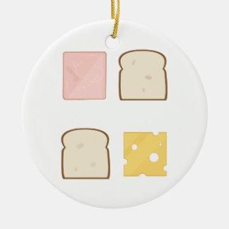 De Sandwich van de ham Rond Keramisch Ornament